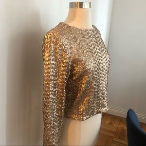 Alice and Olivia Sequin Blouse Top